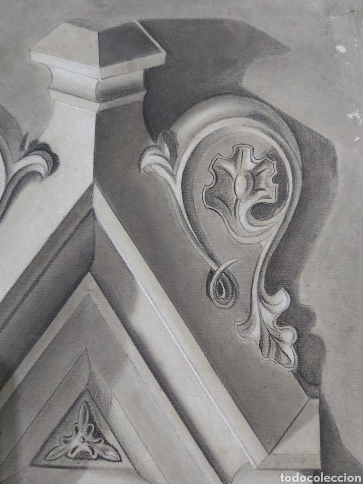 Arte: DIBUJO ORNAMENTO ARQUITECTURA S.XIX FIRMADO J. CARDONA - Foto 3 - 182042323