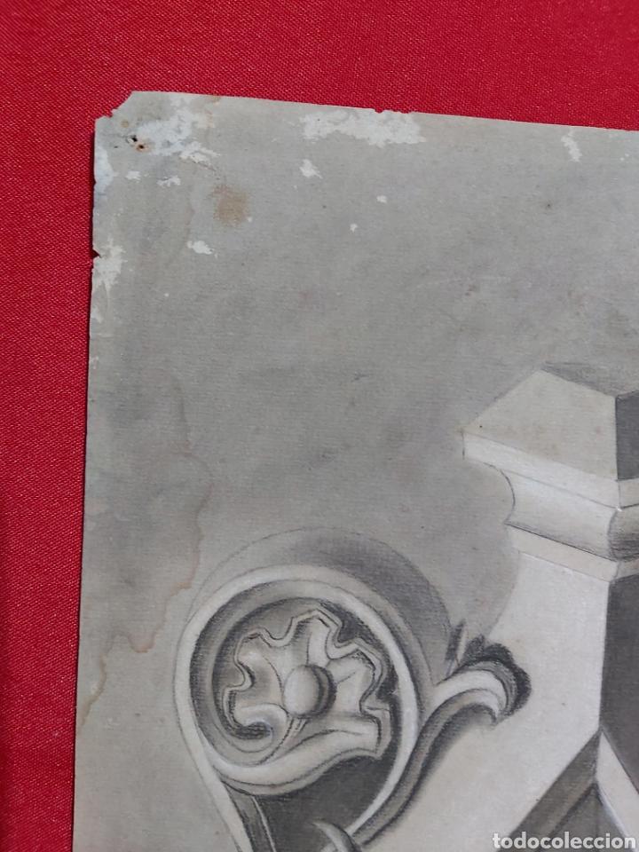 Arte: DIBUJO ORNAMENTO ARQUITECTURA S.XIX FIRMADO J. CARDONA - Foto 6 - 182042323