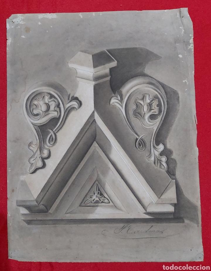 DIBUJO ORNAMENTO ARQUITECTURA S.XIX FIRMADO J. CARDONA (Arte - Dibujos - Modernos siglo XIX)