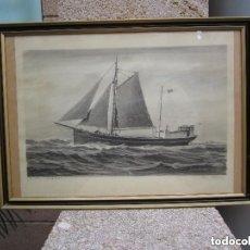 Arte: ESPECTACULAR DIBUJO MARINA .ORIGINAL O.STOLTENBERG 1482. Lote 182091140