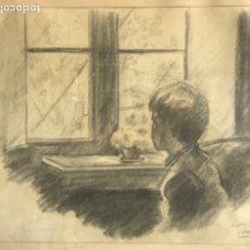 Arte: DIBUJO A LÁPIZ Y CARBÓN FIRMADO J.JOAN 1942 TOSSA. . Lote 182148841