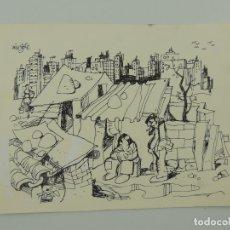 Arte: DIBUJO ORIGINAL MINGOTE - FIRMADO Y DATADO AL REVERSO EN 1976. Lote 182154246