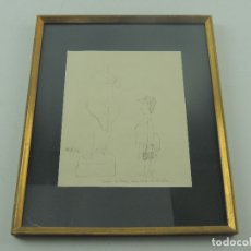 Arte: MAGNIFICO DIBUJO DE MINGOTE-DEBIA DE TENER UNA CARA DE IDIOTA PIEZA DE COLECCION ENMARCADO. Lote 182160252