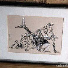 Arte: DIBUJO R. SALVAT - 1987 - ENMARCADO - TEMATICA JAPONESA - PESCADORES ATUN - BUEN ESTADO. Lote 182252517