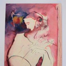 Arte: JOSEP MARIA ROSSELLÓ, PERSONAJE, RETRATO DE PINTOR, 1983, DIBUJO TÉCNICA MIXTA. 50,5X35CM. Lote 182262415
