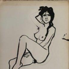 Arte: CELEDONIO PERELLON, DIBUJO APUNTE DESNUDO FEMENINO FIRMADO.. Lote 182355800