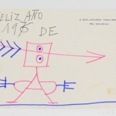 Arte: JAVIER VILATÓ RUIZ (1921 - 2000), PERSONAJE, 1976, DIBUJO SOBRE PAPEL, FELICITACIÓN, PARIS. 15X11CM. Lote 182569950