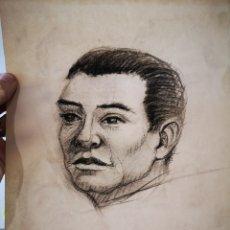 Arte: RETRATO MASCULINO DIBUJO CARBONCILLO 29X22CM. Lote 182581958