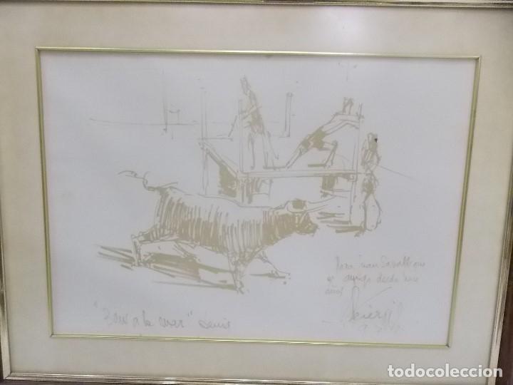 DIBUJO PINTOR ALICANTINO PEREZ GIL BOUS AL MAR DENIA -TOROS AL MAR (Arte - Dibujos - Contemporáneos siglo XX)