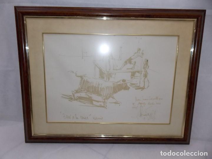 Arte: DIBUJO PINTOR ALICANTINO PEREZ GIL bous AL MAR denia -TOROS AL MAR - Foto 2 - 182661711