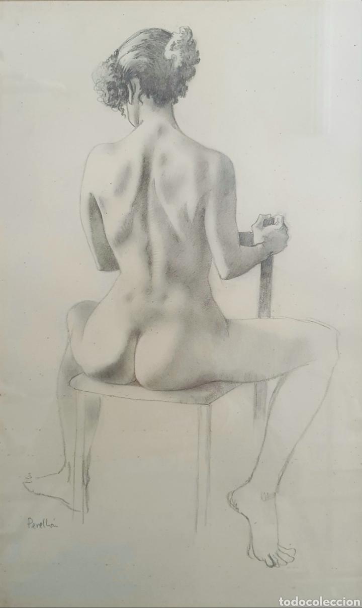 CELEDONIO PERELLON, PRECIOSO DIBUJO ORIGINAL DESNUDO FEMENINO FIRMADO. (Arte - Dibujos - Contemporáneos siglo XX)