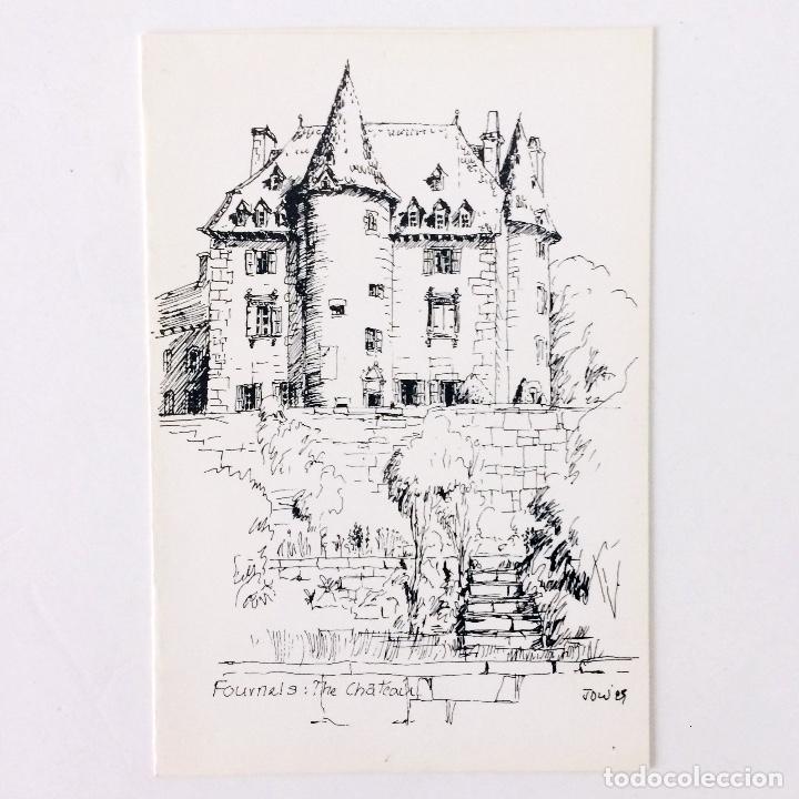 DIBUJO PLUMILLA CHÂTEAU DE FOURNELS FRANCIA - AUTOR: JOWES - 18X12 CM. (Arte - Dibujos - Contemporáneos siglo XX)