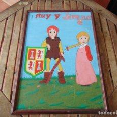 Arte: DIBUJO OLEO PINTURA SOBRE TABLA DE LA SERIE DE DIBUJOS ANIMADOS RUY MI PEQUEÑO CID Y JIMENA. Lote 182837740