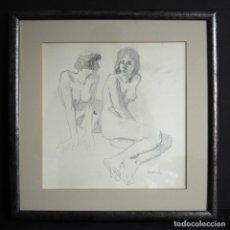Arte: CELEDONIO PERELLÓN. DIBUJO ENMARCADO . DOS MUJERES. AÑOS 80. Lote 182956322
