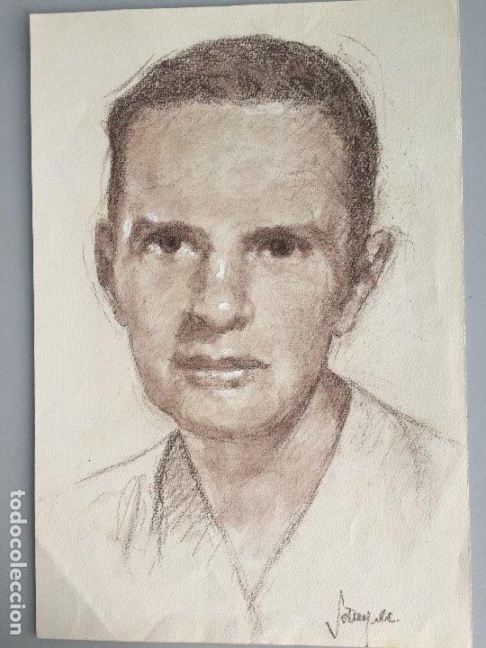 WILLIAM IRISH, RETRATO 31,5X21,5 CMS. FIRMADO Y CATALOGADO, (Arte - Dibujos - Contemporáneos siglo XX)