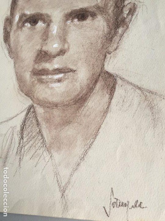 Arte: William Irish, retrato 31,5x21,5 cms. Firmado y catalogado, - Foto 2 - 182963643