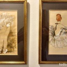 Arte: PAREJA DE DIBUJOS ORIGINALES Y FIRMADOS BALLET 40 X 50 CM (APROX) ENMARCADOS. Lote 182967900