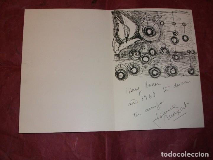 DIBUJO ORIGINAL DE JAUME MUXART CON FELICITACION NAVIDEÑA PARA 1963 MARTORELL BARCELONA (Arte - Dibujos - Contemporáneos siglo XX)