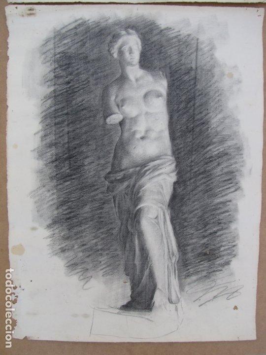 Arte: Dos carboncillos de Ferran Morell. Fundador Equipo Hoz. Años 50 - Foto 4 - 183092255