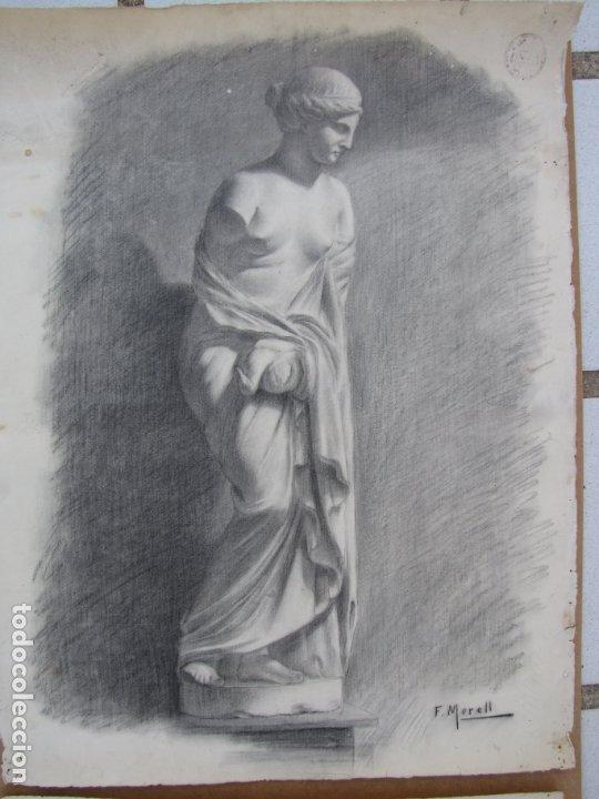 Arte: Dos carboncillos de Ferran Morell. Fundador Equipo Hoz. Años 50 - Foto 5 - 183092255