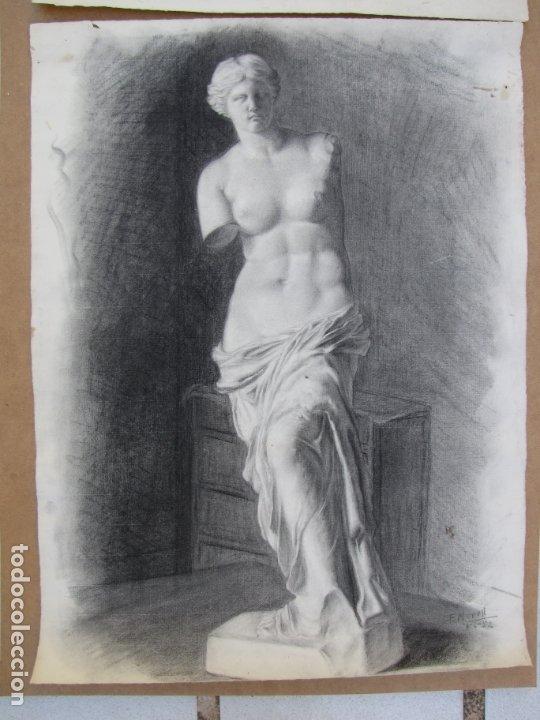 Arte: Dos carboncillos de Ferran Morell. Fundador Equipo Hoz. Años 50 - Foto 4 - 183092415