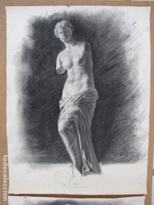 Arte: Dos carboncillos de Ferran Morell. Fundador Equipo Hoz. Años 50 - Foto 5 - 183092415