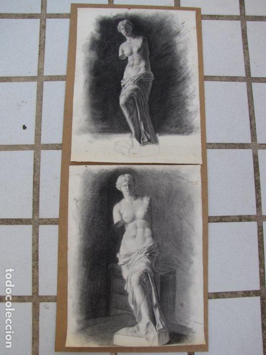 DOS CARBONCILLOS DE FERRAN MORELL. FUNDADOR EQUIPO HOZ. AÑOS 50 (Arte - Dibujos - Contemporáneos siglo XX)