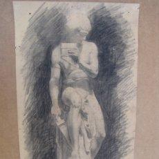 Arte: CARBONCILLO DE JUSTO ALMELA COMPANY. 1.911. DAFNIS CON LA FLAUTA SIRINGA. DEDICADO. Lote 183098576