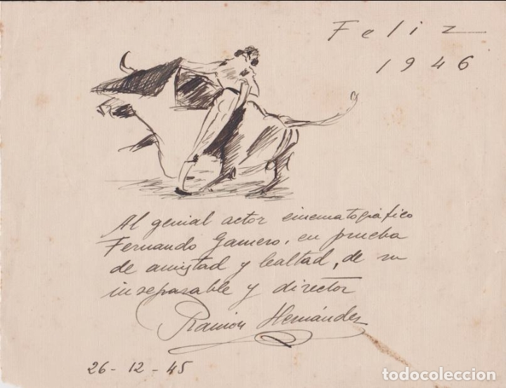 RAMON HERNÁNDEZ DIBUJO A TINTA – MOTIVO TAURINO – FIRMADO – 1946 (Arte - Dibujos - Contemporáneos siglo XX)