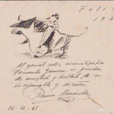 Arte: RAMON HERNÁNDEZ DIBUJO A TINTA – MOTIVO TAURINO – FIRMADO – 1946. Lote 183200223