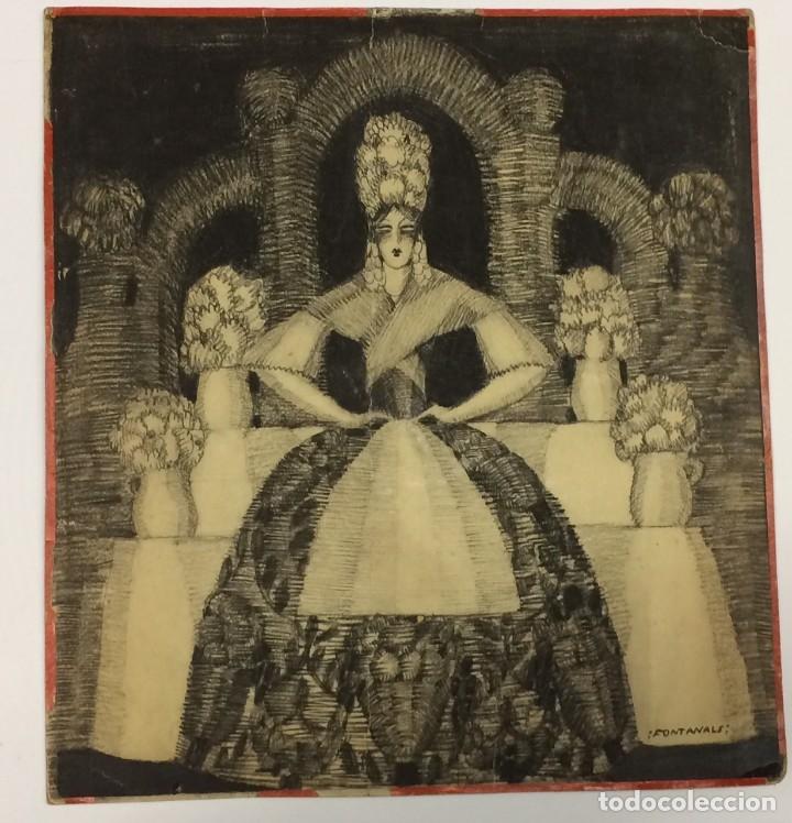 AÑO 1926 - DIBUJO ORIGINAL DE MANUEL FONTANALS FIRMADO - CARBONCILLO SOBRE CARTÓN - ESCENOGRAFÍA (Arte - Dibujos - Contemporáneos siglo XX)