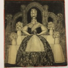 Arte: AÑO 1926 - DIBUJO ORIGINAL DE MANUEL FONTANALS FIRMADO - CARBONCILLO SOBRE CARTÓN - ESCENOGRAFÍA. Lote 183260077