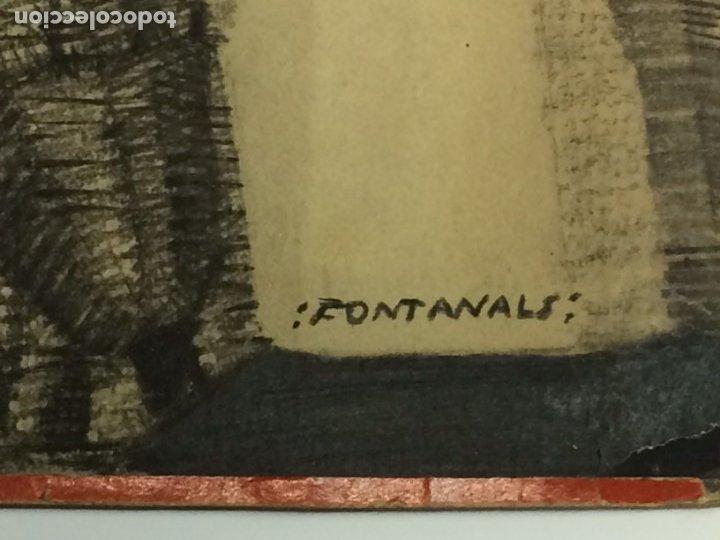 Arte: AÑO 1926 - DIBUJO ORIGINAL DE MANUEL FONTANALS FIRMADO - CARBONCILLO SOBRE CARTÓN - ESCENOGRAFÍA - Foto 2 - 183260077