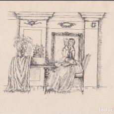 Arte: ANTIGUO DIBUJO A TINTA, DAMA TOCA EL PIANO - AUTOR DESCONOCIDO. Lote 183326322