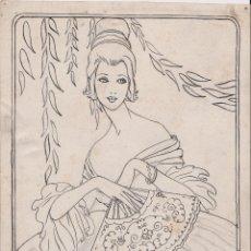 Arte: ANTIGUO DIBUJO A TINTA, APUNTE, DAMA DEL ABANICO - FIRMADO J.L.REY. Lote 183329372