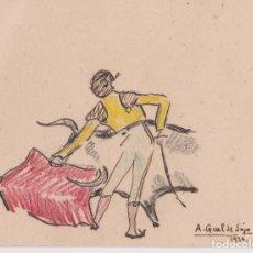 Arte: ANTIGUO DIBUJO A TINTA, MOTIVO TAURINO - FIRMADO: A. GUAL DE SOJO - 1936. Lote 183334418
