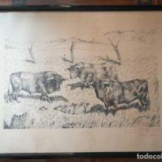 Arte: CUADRO CON MOTIVOS TAURINOS. ORIGINAL DE ALFONSO ROJAS AÑO 1968.. Lote 183338101