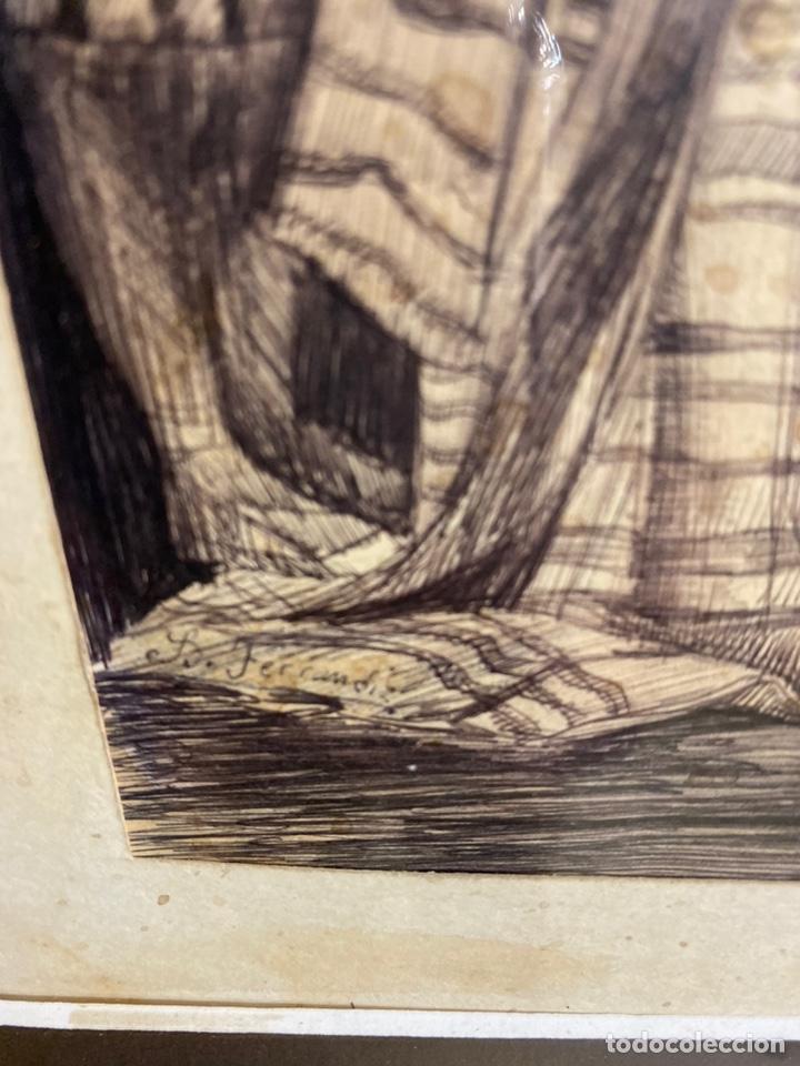 Arte: Bernardo ferrandiz y badenes/el tribunal de las aguas /plumilla sobre papel firmado B.ferrandiz - Foto 2 - 183363596