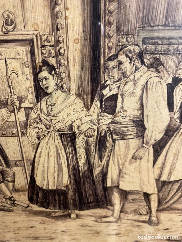 Arte: Bernardo ferrandiz y badenes/el tribunal de las aguas /plumilla sobre papel firmado B.ferrandiz - Foto 3 - 183363596