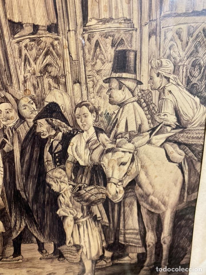 Arte: Bernardo ferrandiz y badenes/el tribunal de las aguas /plumilla sobre papel firmado B.ferrandiz - Foto 4 - 183363596