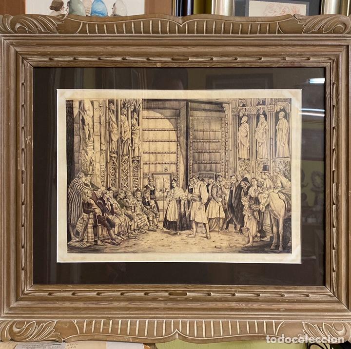 BERNARDO FERRANDIZ Y BADENES/EL TRIBUNAL DE LAS AGUAS /PLUMILLA SOBRE PAPEL FIRMADO B.FERRANDIZ (Arte - Dibujos - Modernos siglo XIX)