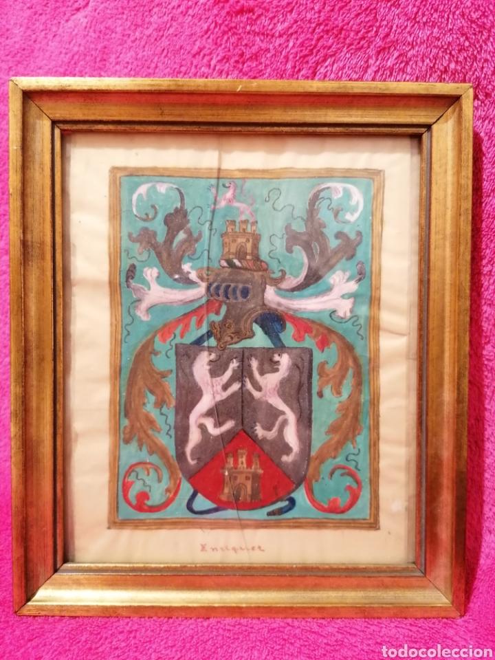 ESCUDO HERÁLDICO DEL APELLIDO ENRIQUEZ. SIGLO XVII-XVIII (Arte - Dibujos - Antiguos hasta el siglo XVIII)