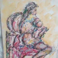 Arte: MUJER SENTADA ORIGINAL. Lote 183478687