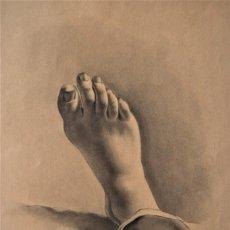 Arte: ESTUDIO DE UN PIE - 32 X 49 CM - MARIA DE LOS ÁNGELES VERDÚ - FINALES SIGLO XIX PRINCIPIOS XX. Lote 183558398