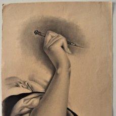 Arte: ESTUDIO BRAZO Y MANO MUJER - 32 X 49 CM - MARIA DE LOS ÁNGELES VERDÚ - FIN. SIGLO XIX PRINC XX. Lote 183559011