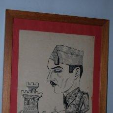 Arte: DIBUJO ORIGINAL - RETRATO MILITAR - CARICATURA - REGIMIENTO MIXTO DE INGENIEROS Nº1 - AÑOS 40. Lote 183621127
