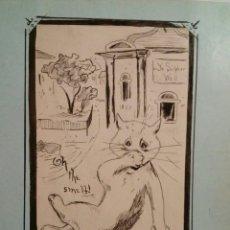 Arte: DIBUJO ORIGINAL K.C.W AFTER LOUIS WAIN. Lote 183736516