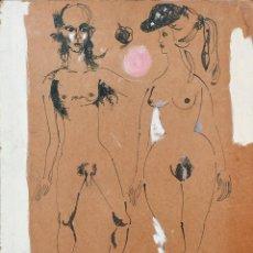 Arte: 65X54 DIBUJO ORIGINAL ARTISTA JORDI SARRA CUADRO FIRMADO PINTURA TINTA ADAN Y EVA PARIS FRANCIA 1960. Lote 183749500