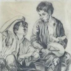 Arte: NIÑOS COMIENDO UVAS, DESPUÉS DE MURILLO. 1943. DIBUJO A GRAFITO. Lote 183797548
