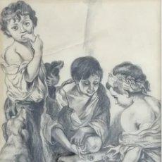 Arte: NIÑOS JUGANDO A LOS DADOS, DESPUÉS DE MURILLO. 1943. DIBUJO A GRAFITO. Lote 183798012